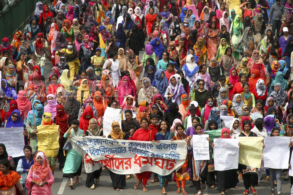 Students of the College of Home Economics brought out a procession in the capital on Saturday to press home their demand of transforming the College into an institute of Dhaka University. Photo: abdul mannan