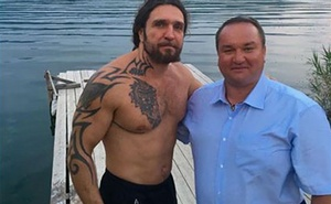Pavel Uglanov, right, a Russian buyer in a Trump building, posted a picture of himself with Alexander Zaldostanov, the head of a Russian motorcycle gang sanctioned by the U.S. government for its role in Russia's seizure of Crimea. Via Facebook