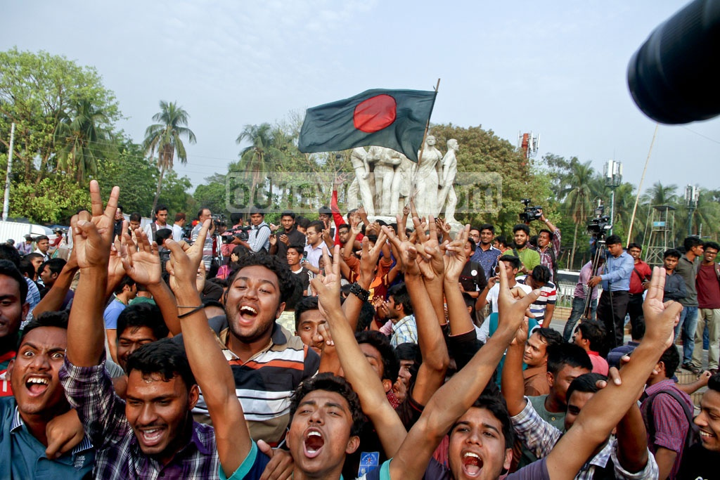 Ecstatic scenes in the Dhaka University area as supporters celebrate Bangladesh's historic win against Sri Lanka in their 100th Test match in Colombo on Sunday. Photo: tanvir ahammed
