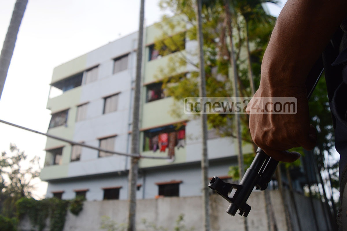 Police say they found nothing in a raid on this house at Ishan Mahazon Lane in Chittagong's Akbar Shah Police Station area on Monday. Photo: suman babu