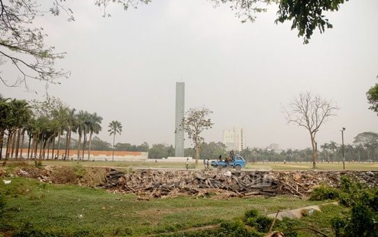 Dhaka's historic Suhrawardy Udyan is being cleaned ahead of Independence Day. Photo: tanvir ahammed