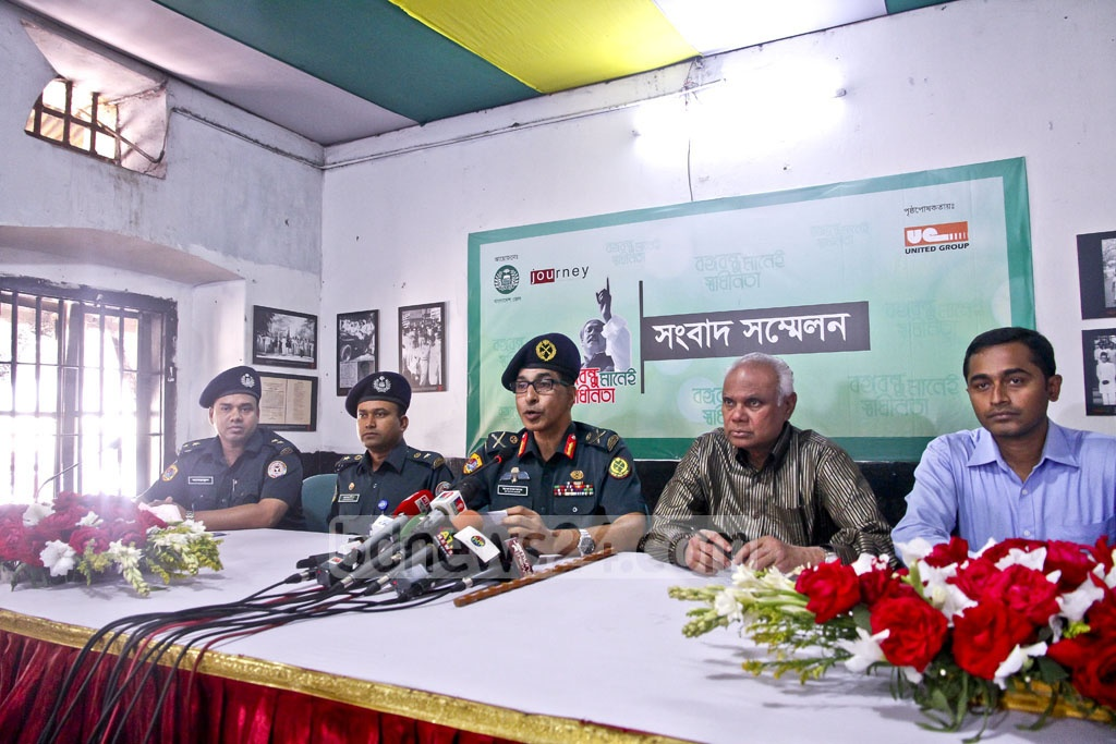 Inspector General of Prisons Brig Gen Syed Iftekhar Uddin speaks at a press conference on the photo exhibition display at the Old Dhaka Central Jail premises from Mar 25-27 in commemoration of Independence Day. Photo: tanvir ahammed