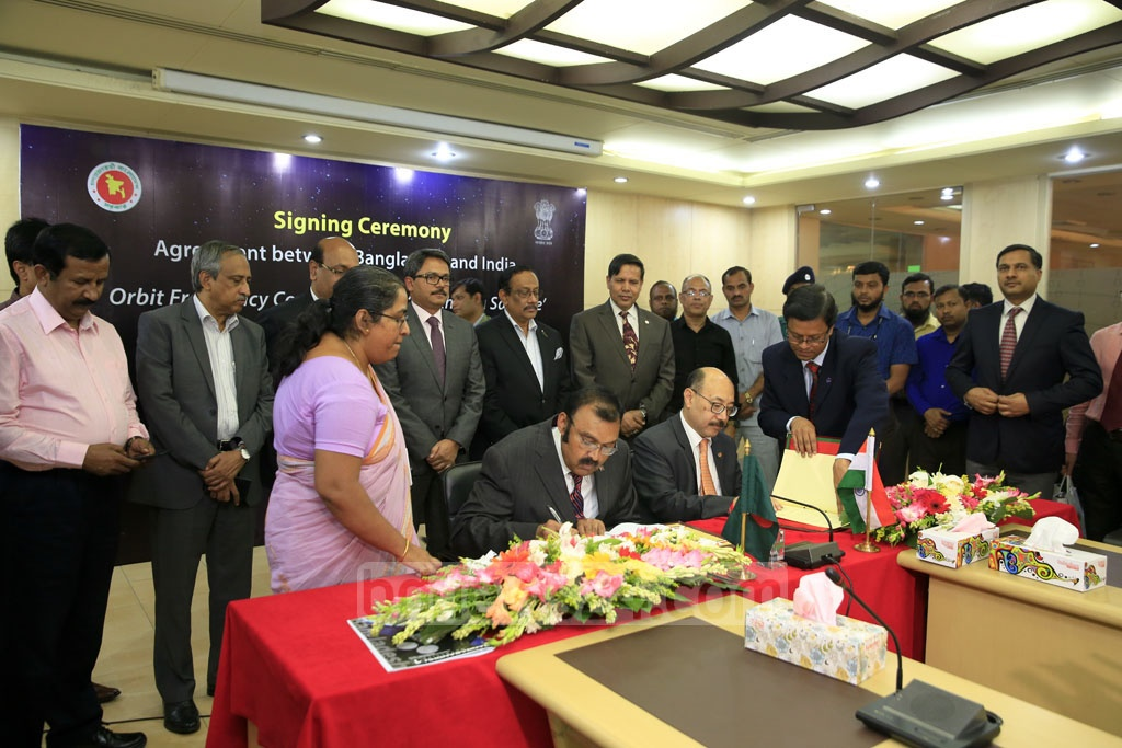 Bangladesh has signed an agreement with India to formally join New Delhi's 'South Asia Satellite' initiative. Bangladesh Telecommunication Regulatory Commission (BTRC) Chairman Shahjahan Mahmood and Indian High Commissioner Harsh Vardhan Shringla signed the agreement in Dhaka on Thursday. Photo: mostafigur rahman
