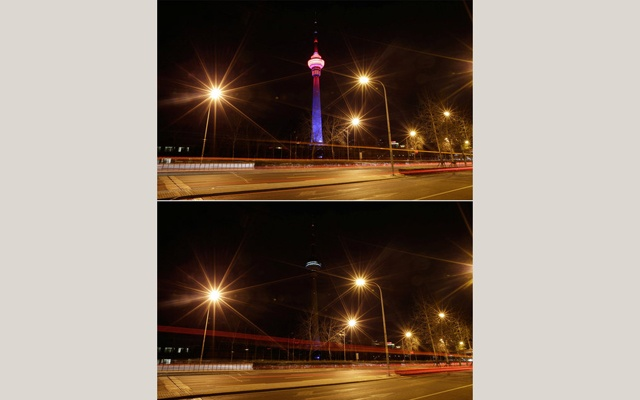 A combination photo shows a view of China Central Radio and Television Tower before (top) and during Earth Hour in Beijing, China March 25, 2017. REUTERS