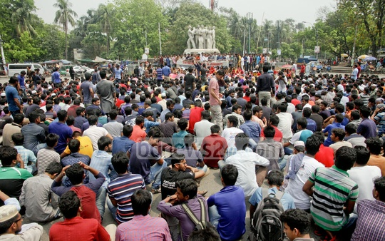 Bangladesh Chhatra League holds a rally at Dhaka University on Tuesday to protest recent terror attacks. Photo: tanvir ahammed