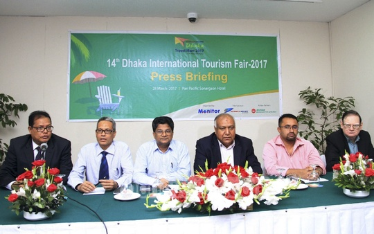 A press briefing is held for Dhaka International Tourism Fair-2017 at Dhaka's Hotel Sonargaon on Tuesday. The three-day fair will begin on Mar 30. Photo: abdul mannan