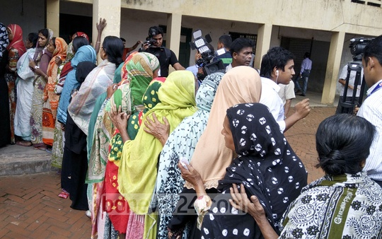 Women line up to cast their votes at the Modern School polling centre during the Comilla City Corporation elections on Thursday. Photo: masum billah