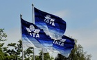 Flags are seen at the 2016 International Air Transport Association (IATA) Annual General Meeting (AGM) and World Air Transport Summit in Dublin, Ireland Jun 1, 2016. Reuters