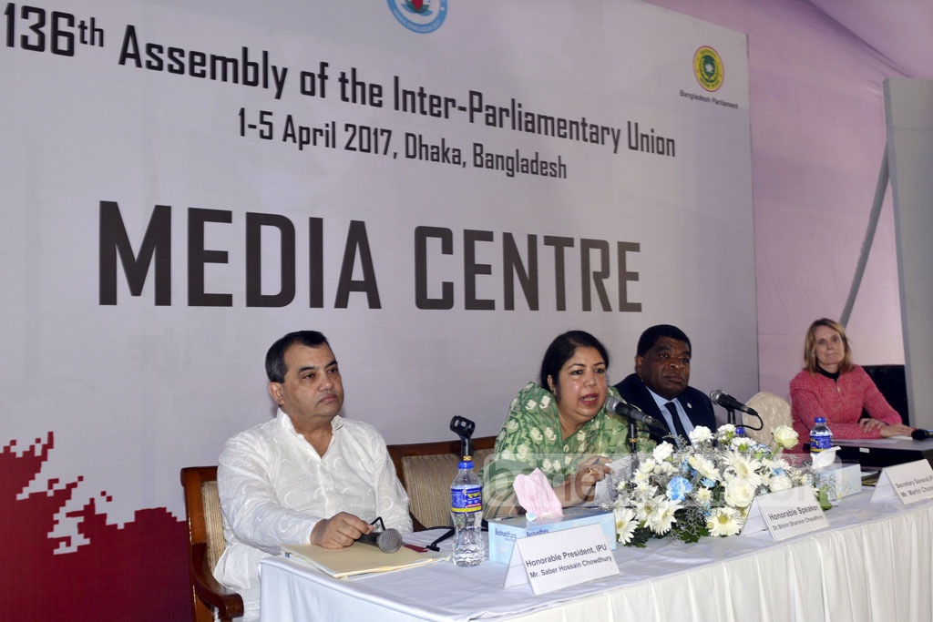 National Parliament Speaker Shirin Sharmin Chaudhury addresses the 136th Assembly of the Inter-Parliamentary Union being held at Dhaka's Bangabandhu International Conference Center on Friday.
