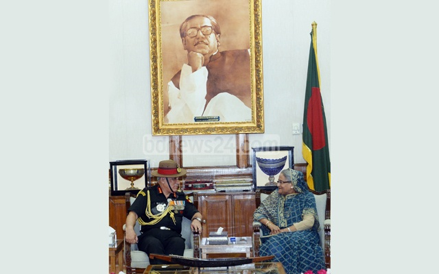 File Photo: Indian Army chief Bipin Rawat meets Prime Minister Sheikh Hasina at the Ganabhaban during his Mar 31-Apr 2 visit.