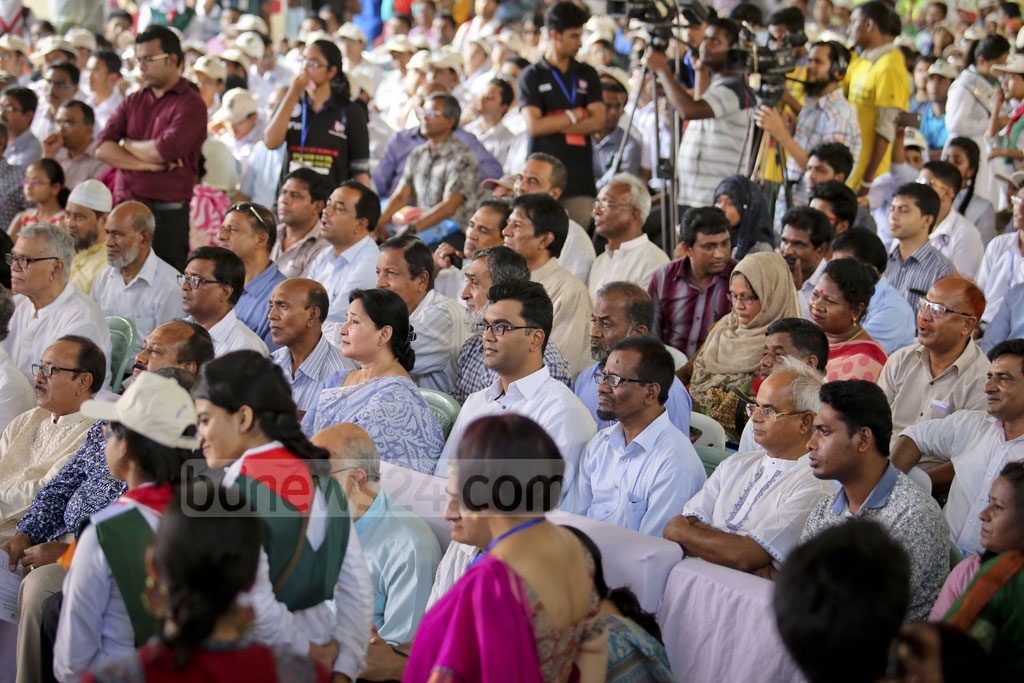 Invited guests listening to Nobel Peace Laureate Kailash Satyarthi at the launching ceremony of his new initiative titled '100 Million for 100 Million' in Bangladesh for education-deprived and disadvantaged people at the St Joseph High School on Sunday. Photo: asaduzzaman pramanik