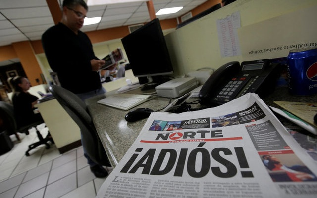 El Norte newspaper is pictured after the paper announced its closure due to what it says is a situation of violence against journalists in Ciudad Juarez, Mexico, April 2, 2017. The word reads,