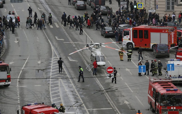 General view of emergency services attending the  scene outside Sennaya Ploshchad metro station, following explosions in two train carriages in St. Petersburg, Russia April 3, 2017. REUTERS