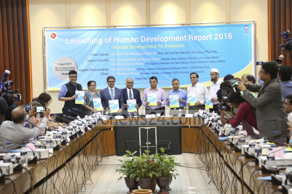 Bangladesh gains three spots on the Global Human Development Index (HDI) 2015 ranking as per the report published at the NEC conference room at Dhaka's Agargaon on Wednesday. Photo: asif mahmud ove