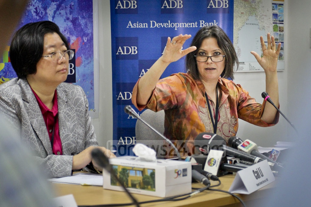 Asian Development Bank Principal Country Specialist Jyotsana Varma highlights various aspects of the organisation's Asian Development Outlook 2017 report in Dhaka on Thursday. Photo: asif mahmud ove