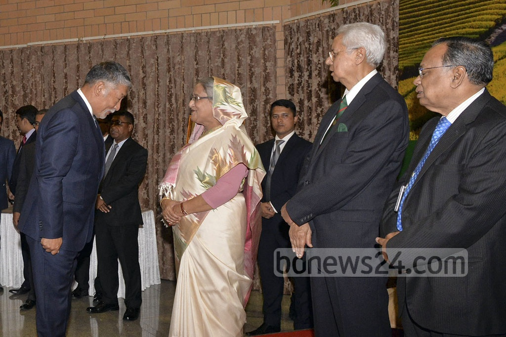 Prime Minister Sheikh Hasina at a reception at the Moitree Hall of the Bangladesh High Commission in New Delhi on Friday. Heads of several missions in India and the country's distinguished citizens attended the programme.