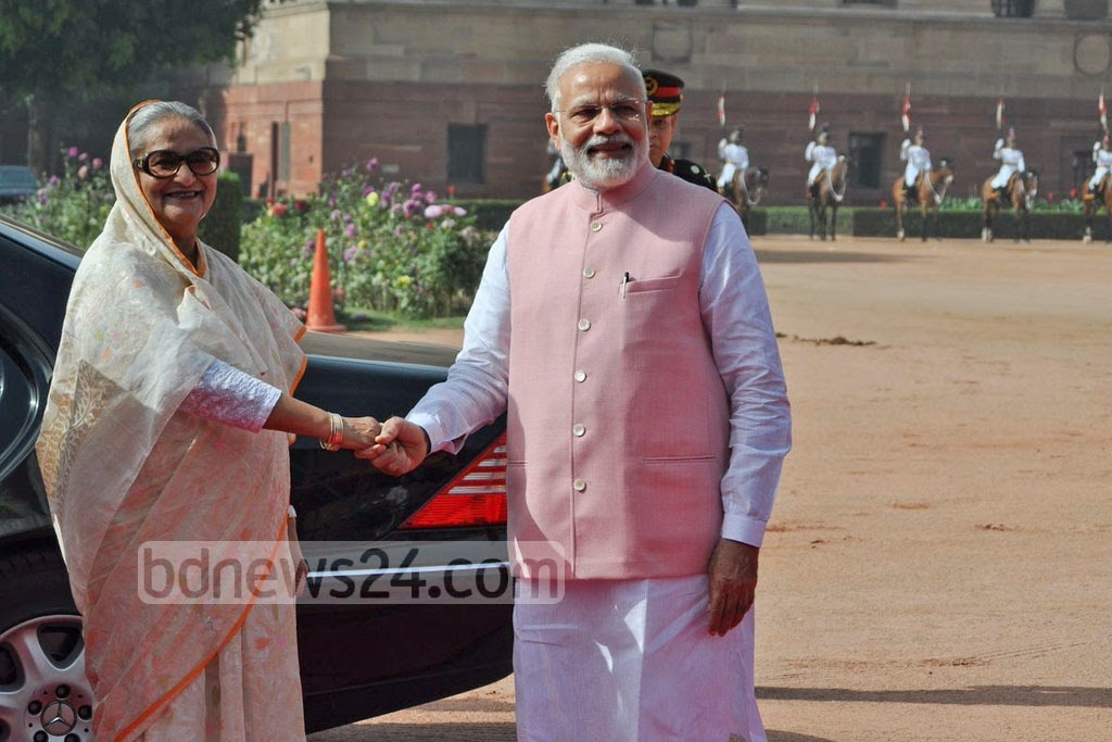 Indian Prime Minister Narendra Modi formally welcomed Sheikh Hasina at the Rashtrapati Bhavan in New Delhi on Saturday. Photo: Indian Ministry of External Affairs