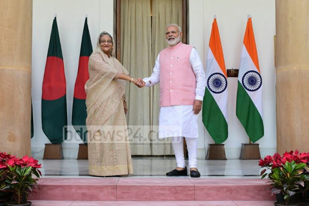 Indian Prime Minister Narendra Modi greets Prime Minister Sheikh Hasina at the Hyderabad House in New Delhi on Saturday. Photo: Indian Ministry of External Affairs