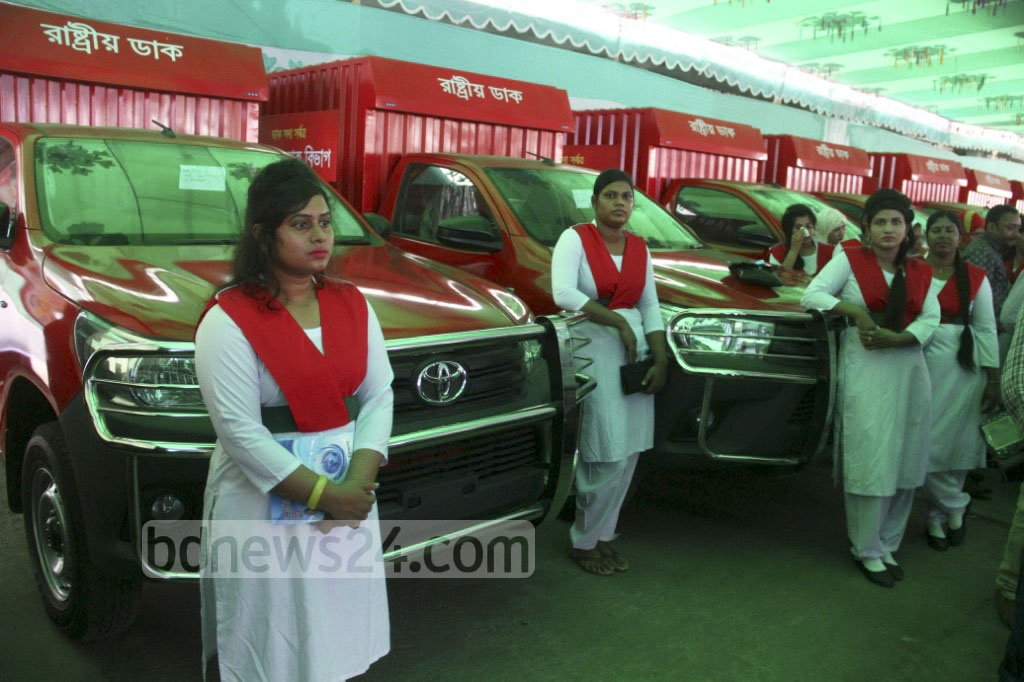Nineteen new mail vans were inaugurated during a ceremony at the postal service headquarters in Dhaka on Saturday. Ten are to be driven by women. Photo: abdul mannan
