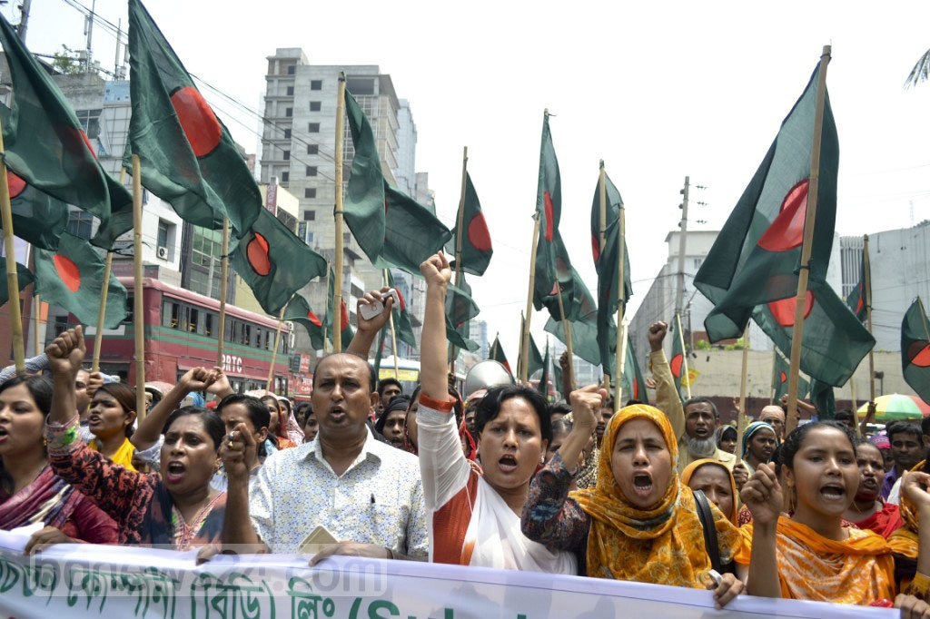 National Garment Workers Federation holds a rally in Dhaka on Sunday to back their many demands, including clearing arrears for 308 workers of a Korean-owned factory.