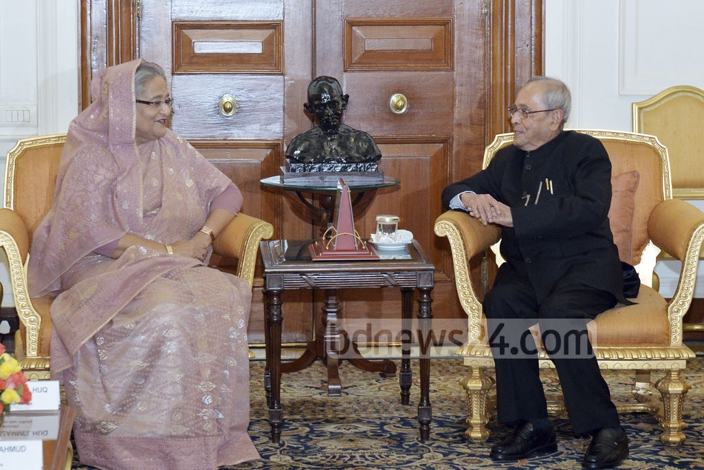 Prime Minister Sheikh Hasina in a meeting with Indian President Pranab Mukherjee at Delhi's Rastrapati Bhavan on Sunday. Photo: PID