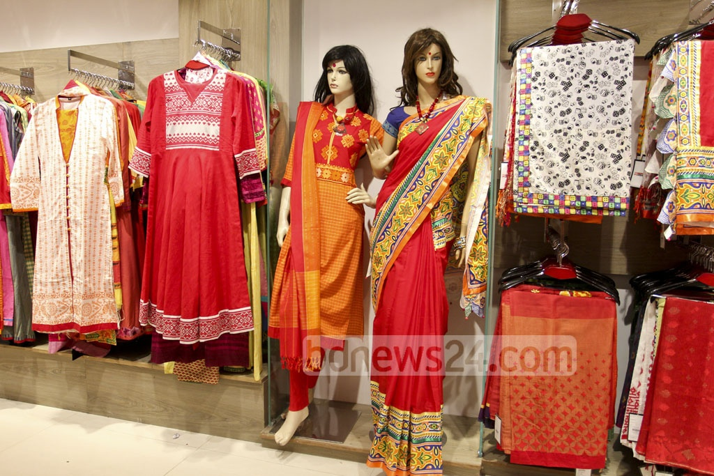 The boutique shops in Dhaka have introduced colourful dresses of local designs ahead of the Bangla New Year.