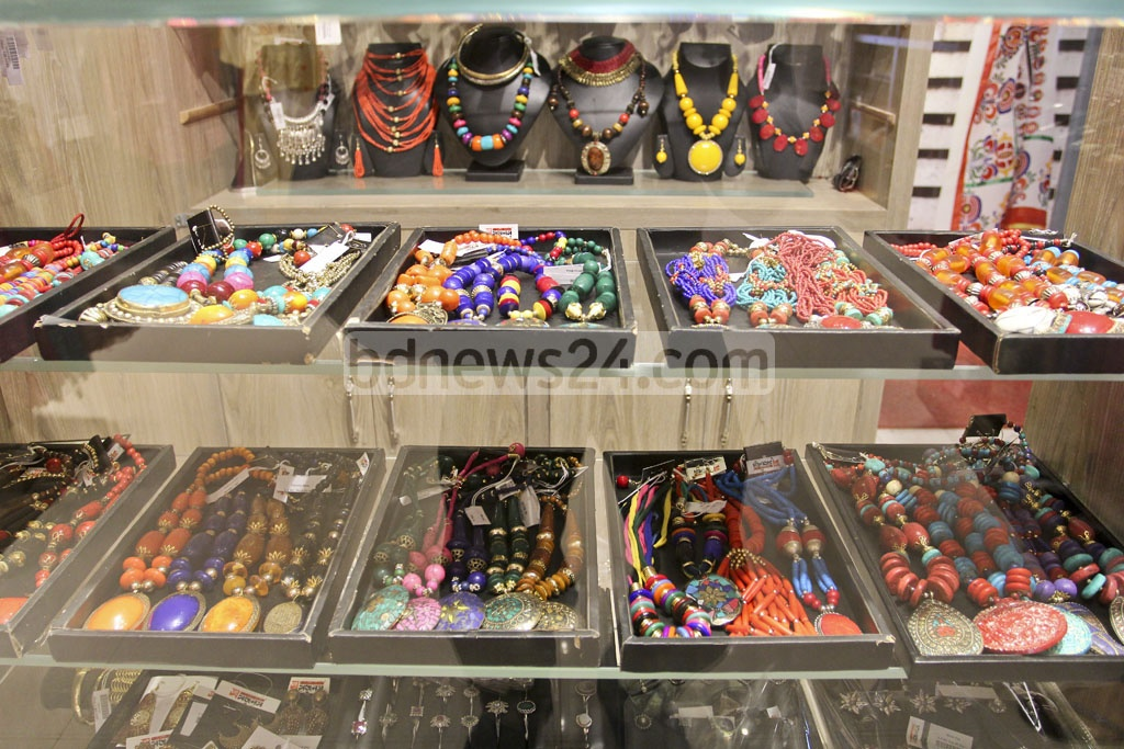 Specially designed ornaments for the Pahela Baishakh are on display at a shop in Dhaka.