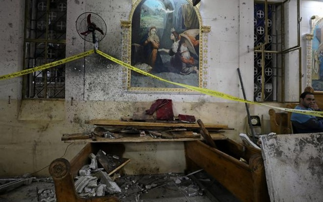 The aftermath of an explosion that took place at a Coptic church on Sunday in Tanta, Egypt, April 9, 2017. Reuters