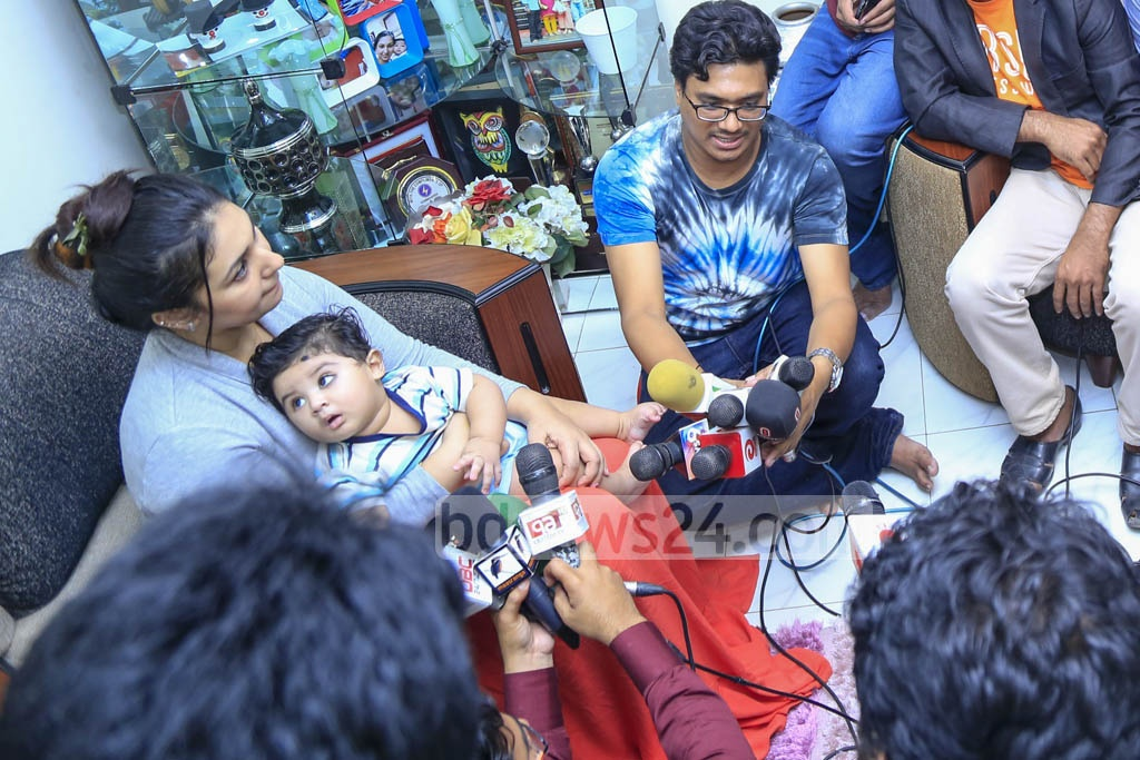 Apu Biswas claims she had hidden the news of their marriage and child because of her husband Shakib Khan. She faced the media with their son at her home in Dhaka's Niketan on Monday. She earlier broke the news at an interview with a TV channel.