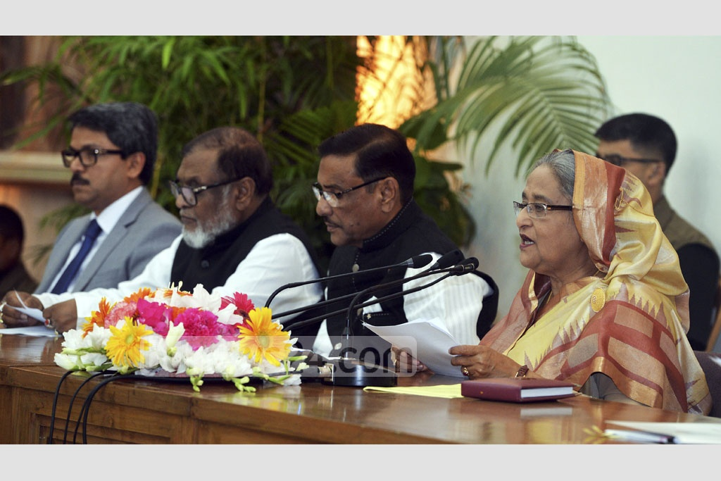 Prime Minister Sheikh Hasina holds a media briefing on her visit to India at the Ganabhaban on Tuesday. Photo: PID