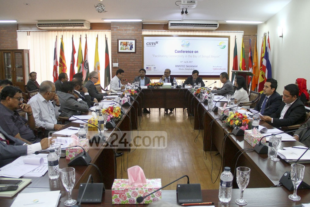 Guests speak at a day-long conference titled 'Facilitating Connectivity in the Bay of Bengal Region' organised by the BIMSTEC Secretariat and Indian think tank CUTS in Dhaka on Tuesday. Photo: abdul mannan