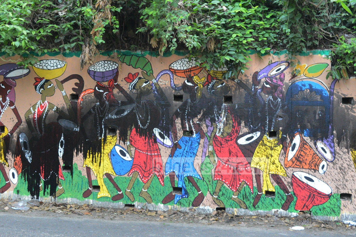 A wall painting by students of the Institute of Fine Arts at Chittagong University is found vandalised by unknown miscreants who used burnt oil to deface the figures on Tuesday night, ahead of celebrations for Pahela Baishakh, the first day of the Bangla New Year. Photo: suman babu