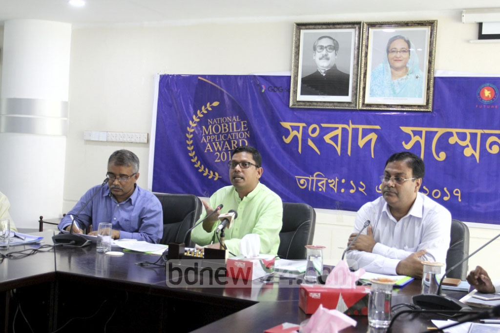 ICT state minister Junaid Ahmed Palak speaks at a press conference in Dhaka's Agargaon on Wednesday, ahead of the prize-distribution ceremony for the National Mobile Application Award on May 4. Photo: asif mahmud ove