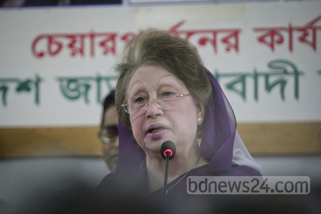 BNP Chairperson Khaleda Zia speaks at a press conference at her office in Gulshan to share her reaction to Prime Minister Sheikh Hasina's visit to India. Photo: asif mahmud ove