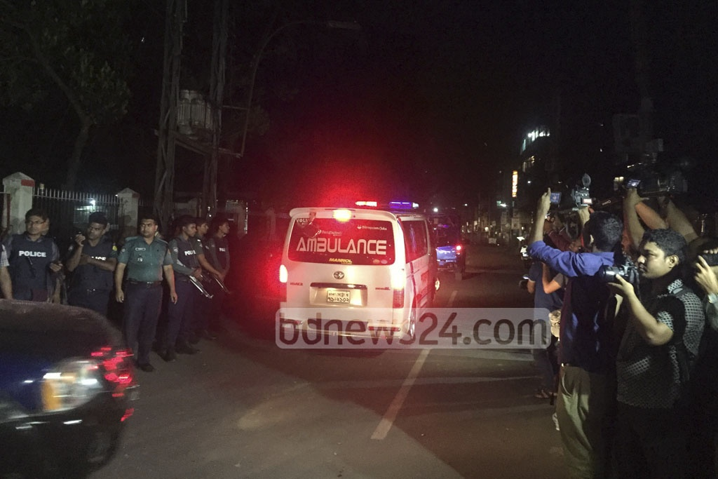 An ambulance, believed to be carrying the body of hanged militant leader Delwar Hossain Ripon, leaves Sylhet Central Jail on Wednesday.