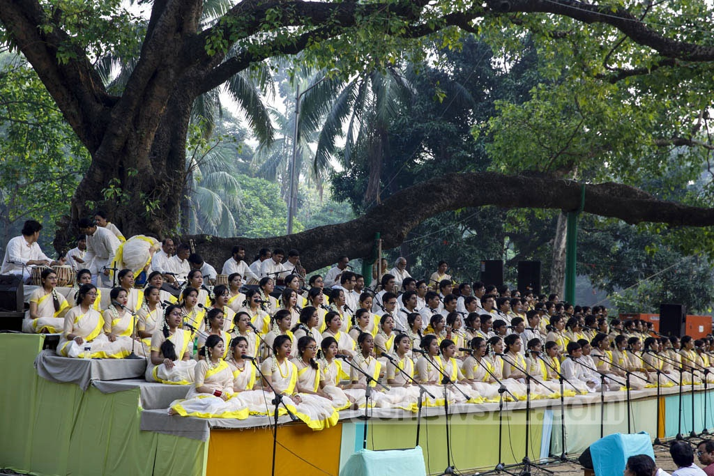Quintessential Tagore songs being sung to ring in the Bangla Near 1424 at Ramna Batamul on Friday.