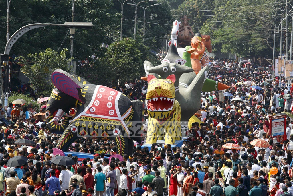 Dhaka University's Faculty of Fine Arts organised 'Mangal Shobhajatra' procession welcoming the Bangla New Year 1424 on Friday. Photo: mostafigur rahman