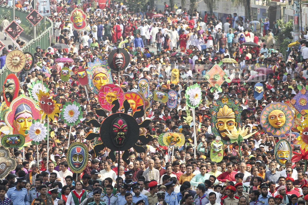 The 'Mangal Shobhajatra' procession on Pahela Baishakh calls upon Bangladeshis to fight back dark forces and evil practices of extremism. Photo: asif mahmud ove