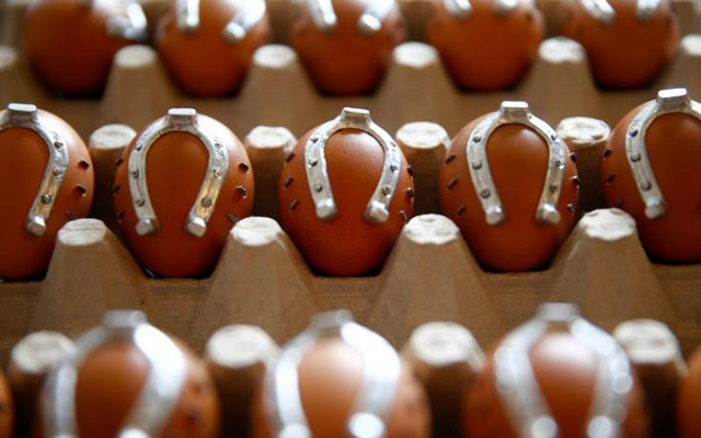 Eggs decorated with small horseshoes are seen in a workshop in Kresevo, Bosnia and Herzegovina, April 13, 2017. Reuters