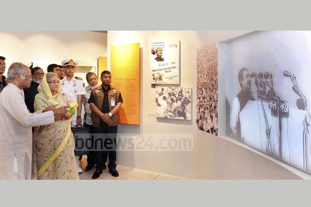 Prime Minister Sheikh Hasina takes a tour of the Liberation War Museum's new home in Dhaka's Agargaon on Sunday. Photo: PID