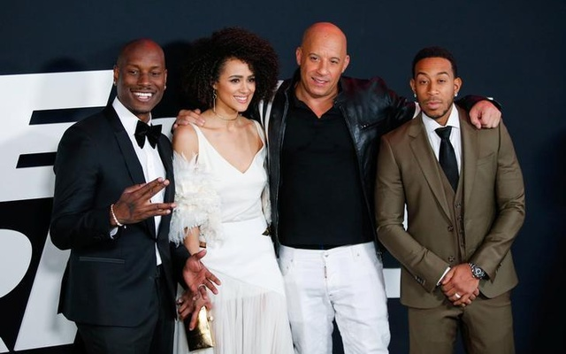 Actors Tyrese Gibson, Nathalie Emmanuell, Vin Diesel and Ludacris attend 'The Fate of the Furious' New York premiere at Radio City Music Hall in New York, US Apr 8, 2017. Reuters