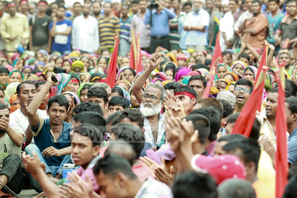 Former workers at the tanneries relocated from Dhaka's Hazaribagh hold a rally on Tuesday questioning the environmental protections at the leather industrial estate in Savar. Photo: tanvir ahammed