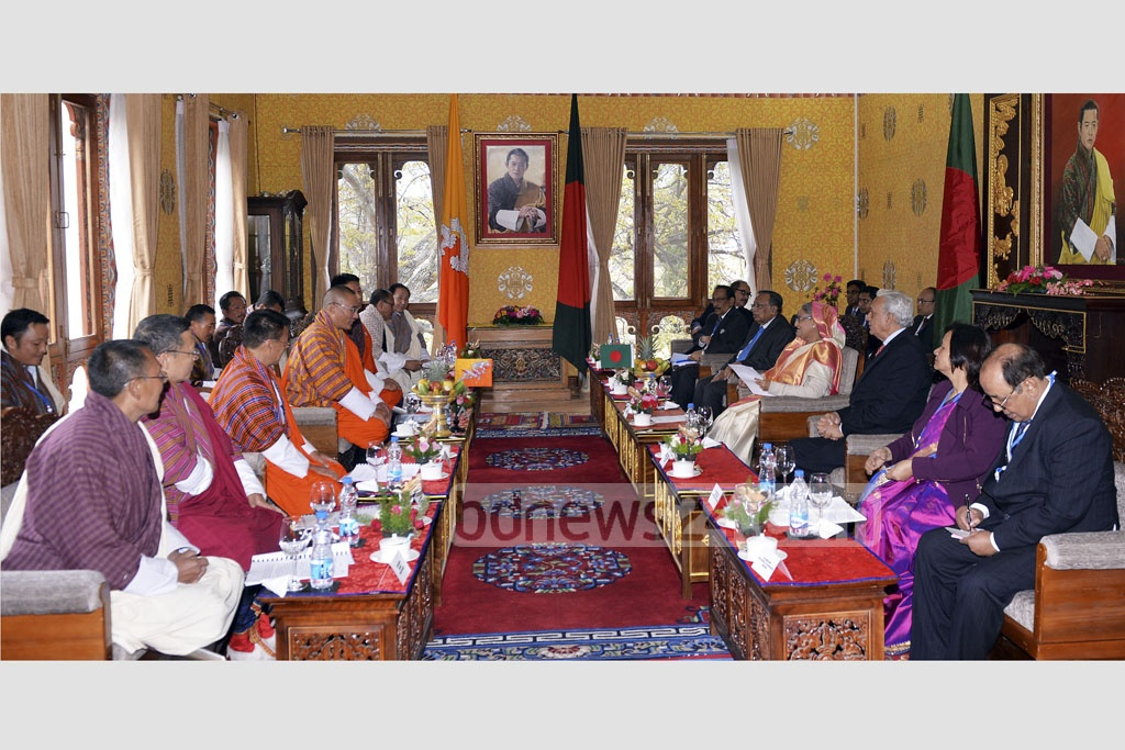 Prime Minister Sheikh Hasina leads the Bangladesh side at official talks with her Bhutanese counterpart Prime Minister Tshering Tobgay in Thimphu on Tuesday.