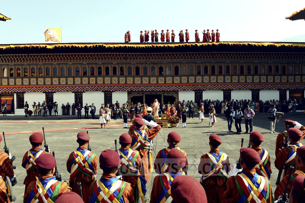 Prime Minister Sheikh Hasina is given a guard of honour at Tashichho Dzong, the  seat of the government at Bhutanese capital Thimphu.