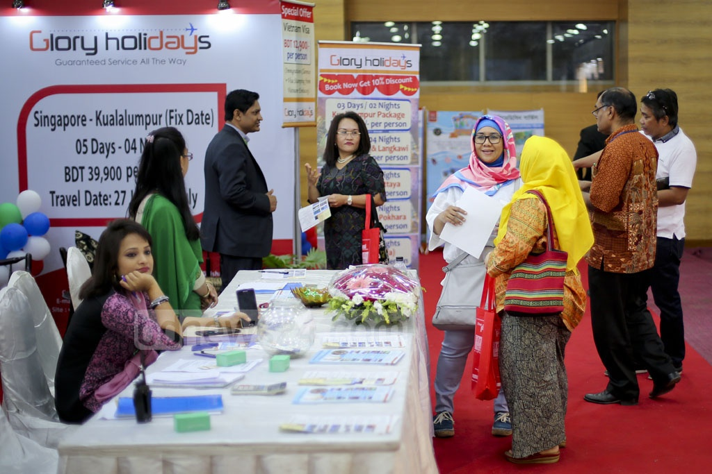 A view of a stall at the Travel and Tourism Fair at Bangabandhu International Conference Center in Dhaka on Thursday. Photo: asaduzzaman pramanik