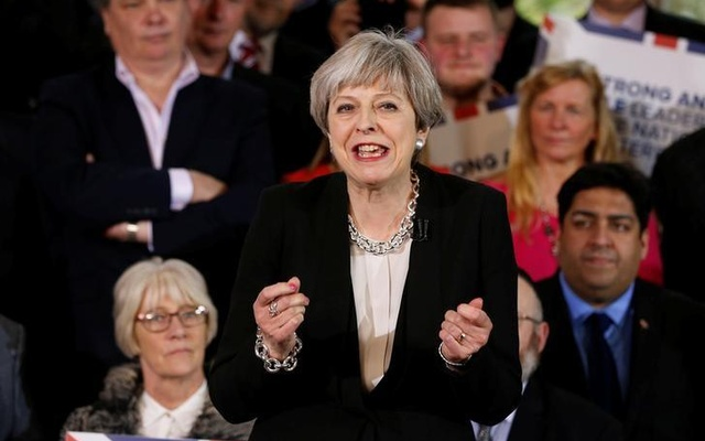 Britain's Prime Minister Theresa May delivers a speech to Conservative Party members to launch their election campaign in Walmsley Parish Hall, Bolton, Britain April 19, 2017. Reuters