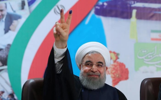 Iran's President Hassan Rouhani gestures as he registers to run for a second four-year term in the May election, in Tehran, Iran, Apr 14, 2017. Reuters