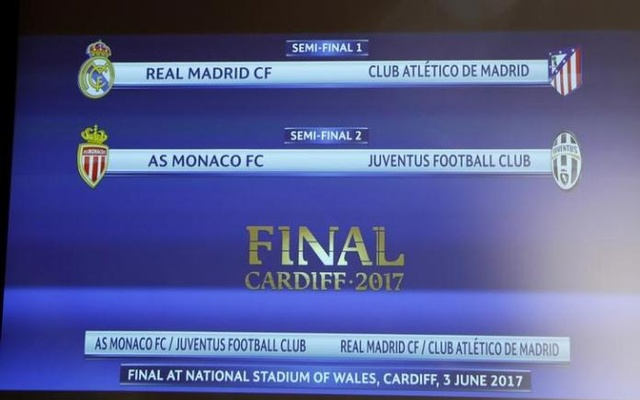 UEFA Champions League Semi-Final Draw - Nyon, Switzerland - 21/4/17 A screen displaying the order after the draw of the UEFA Champions League semi-finals. Reuters