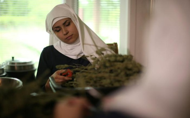 California 'weed nun' India Delgado, who goes by the name Sister Eevee, trims hemp in the kitchen at Sisters of the Valley near Merced, California, US, April 18, 2017. Reuters