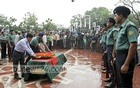 State honours for Lucky Akhand at Central Shaheed Minar on Saturday. Photo: asif mahmud ove